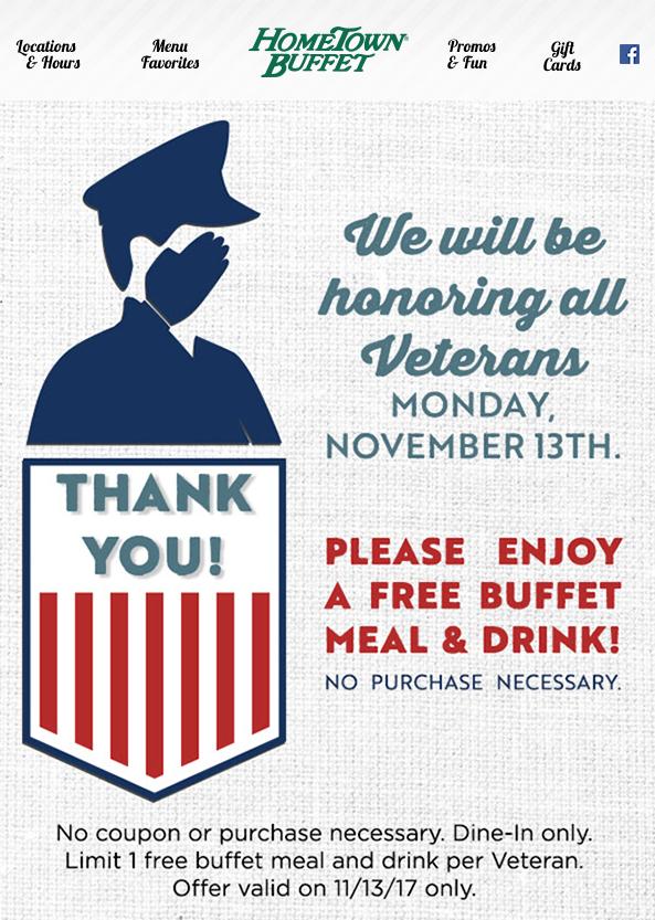 Hometown Buffet - Veterans, enjoy a FREE Buffet Meal & Drink on us! 11/13