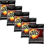 5-Sets of 6 Guitar Strings: GHS Boomers Nickel-Plated Steel Electric Guitar Strings (GBL-5 SET)