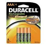 4-pack AAA Duracell Stay-Charged Rechargeable Batteries