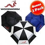 "3-pack Woodworm 60"" Double Canopy Golf Umbrellas"