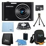 Samsung DV300F Digital Camera Bundle: Samsung DV300F 16MP 5X DualView Digital Camera w/ WiFi, 8GB MicroSD Card, Carrying Case, Memory Card Reader, Mini Tripod, Cleaning Kit