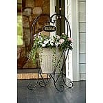 Outdoor Decor Clearance: Garden Oasis Welcome Heart Plant Stand $6, 3-Tier Wire Basket Plant Stand $8, Country Living Brookshire Side Table $8, Set of 3 Resin Pigs $12, Backpack Chair w/ Cooler