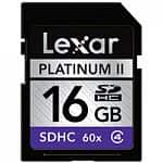 Lexar Media 16GB Platinum II 60x Class 4 SDHC Memory Card