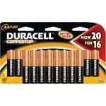 20-count Duracell Coppertop Alkaline Batteries (AA or AAA)