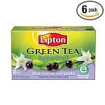 6-pack 20-count Lipton Green, Superfruit, Black Currant and Vanilla $6, 312-count Lipton Black Tea