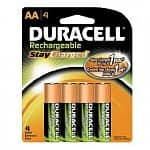 4-pack Duracell StayCharged Rechargeable Batteries: AA or AAA