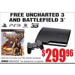 Playstation 3 320GB PS3 Console + Uncharted 3 + Battlefield 3 Games