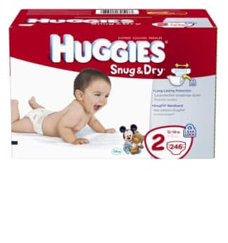 Huggies Snug & Dry Diapers: size 2 (246-ct), size 3 (222-ct), size 4 (192-ct), size 5 (172-ct), size 6 (140-ct) + $1.50 Diapers.com Credit $28 + Free Shipping
