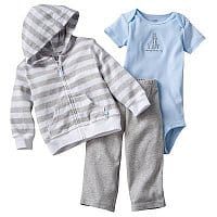 "Kohls Deal: 3-pc Carter's Striped Hooded Cardigan Set $6.99, Carter's Monkey Polo & Pants $6,  First Moments ""Beary Cute"" Striped Sleep & Play $4.89, & more shipped for Kohl's Cardholders"