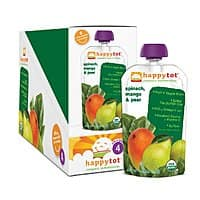 Amazon Deal: 16-Pack Happy Tot Stage-4 Organic Baby Food in Spinach, Mango, Pear Flavor (4.22-oz ea)