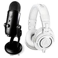 Adorama Deal: Audio-Technica ATH-M50x Headphones + Blue Yeti USB Microphone (white headphones + black mic) for $199.99 with free shipping