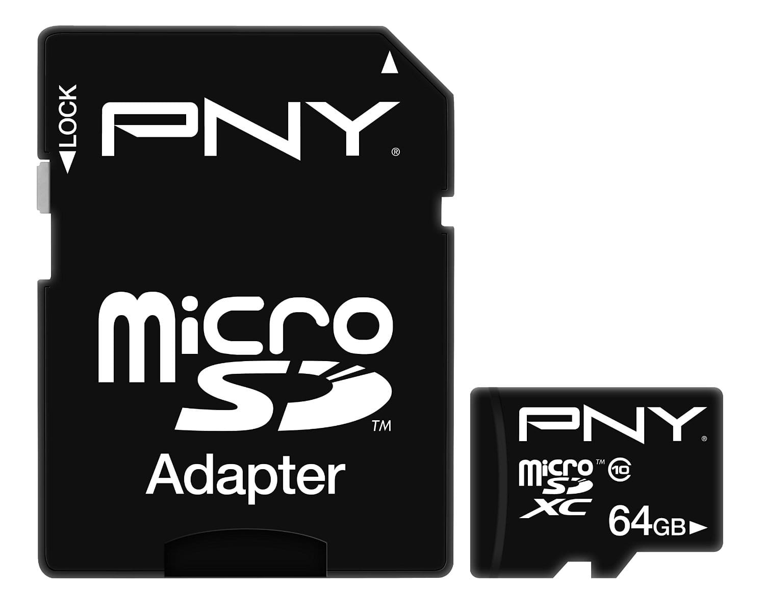 PNY 64GB MicroSDXC Class 10 40MB/sec $23.38 & FREE Shipping with Prime