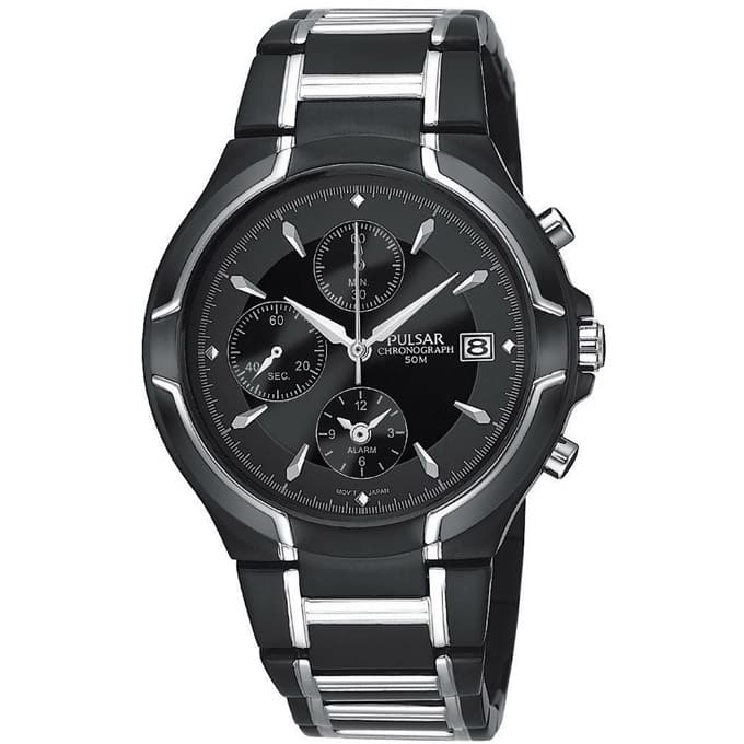 Pulsar by Seiko Men's Business Collection Chronograph Stainless Steel Watch (Two-Tone Black Ion Finish) for $44.99 with free shipping