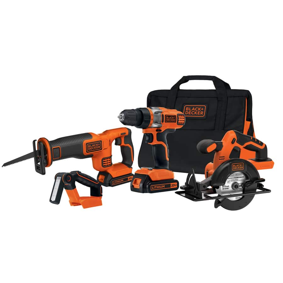 *Back Again*! Black & Decker 4-Tool 20-Volt Max Lithium Ion (Li-ion) Cordless Combo Kit with Soft Case $99 or less (reg. $179)