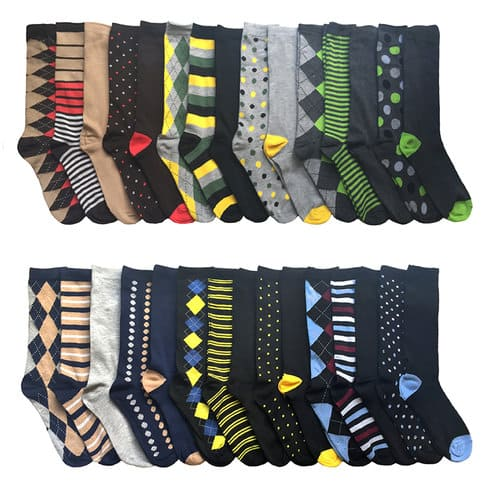 30-Pairs of John Weitz Mens Casual Dress Socks (various colors)  $29