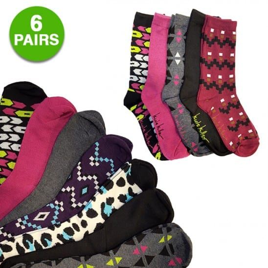6-Pairs of Nicole Miller Women's Crew Socks (assorted styles) $5.03 with free shipping