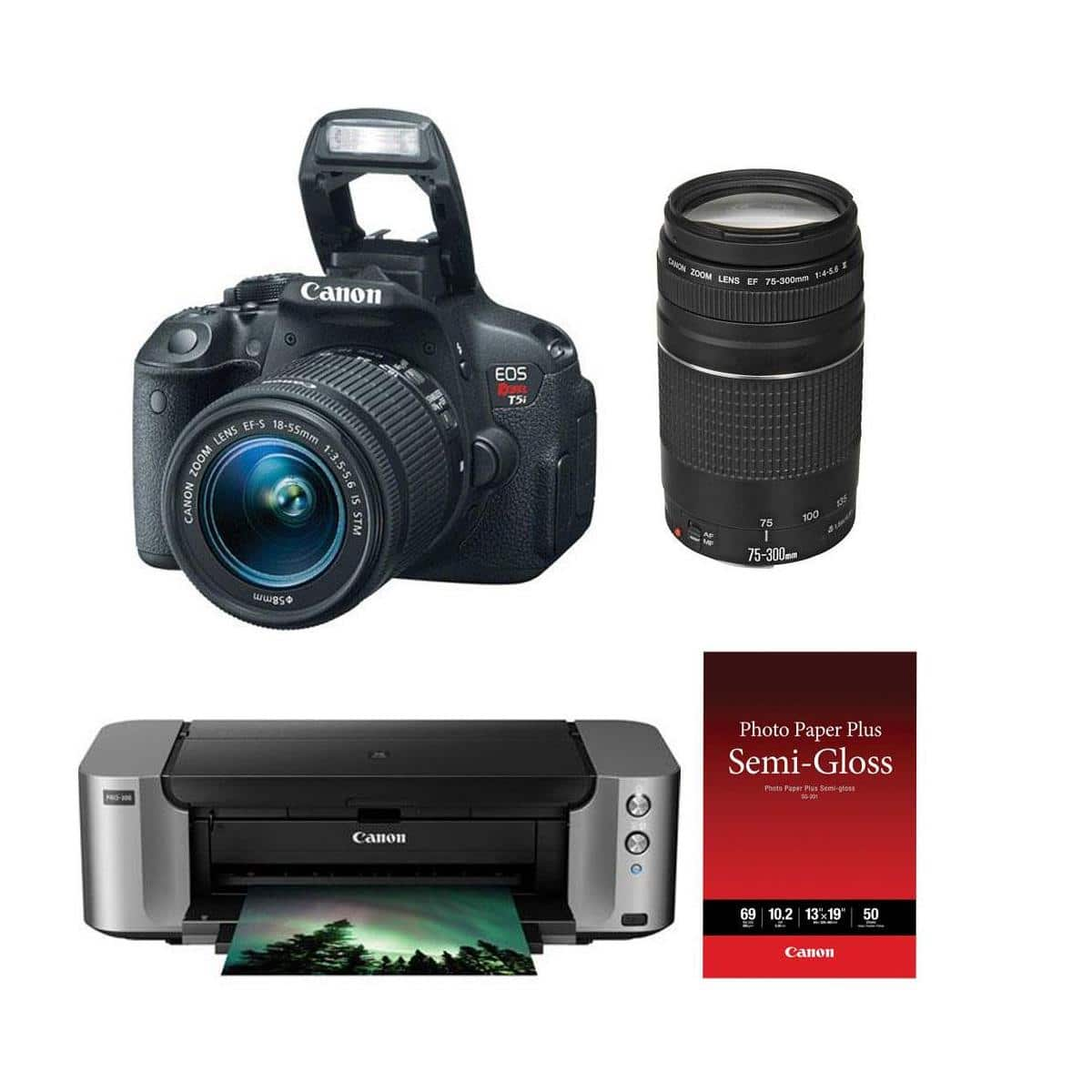 Canon T5i DSLR Camera + 18-55mm STM Lens + 75-300mm lens  + Pro-100 Printer $449 + free shipping after $350 Rebate