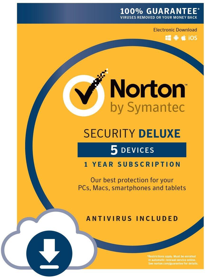 Symantec Norton Security Deluxe Software (5 Devices PC/Mac Keycard/Download) $19.99 via Amazon