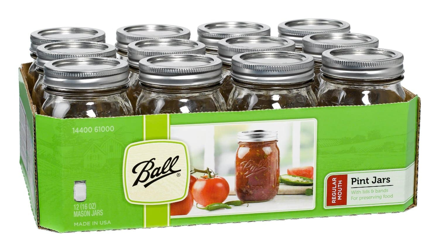 12-Pack of 16oz Ball Mason Regular-Mouth Jars  $6 + Free Store Pickup