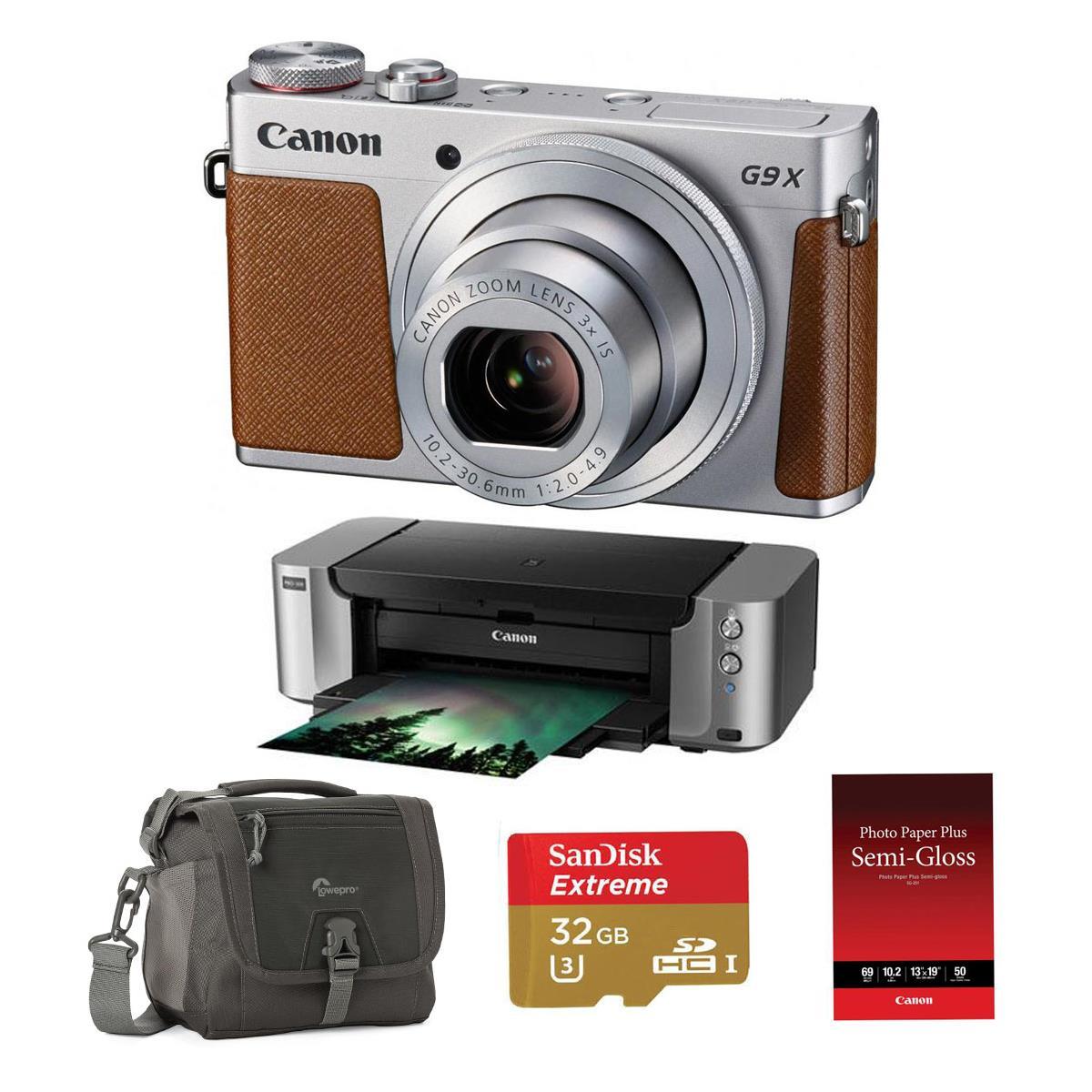 Canon G9 X + Pro-100 Printer + Photo Paper + 32gb SD card + bag for $350 AR from Adorama.com