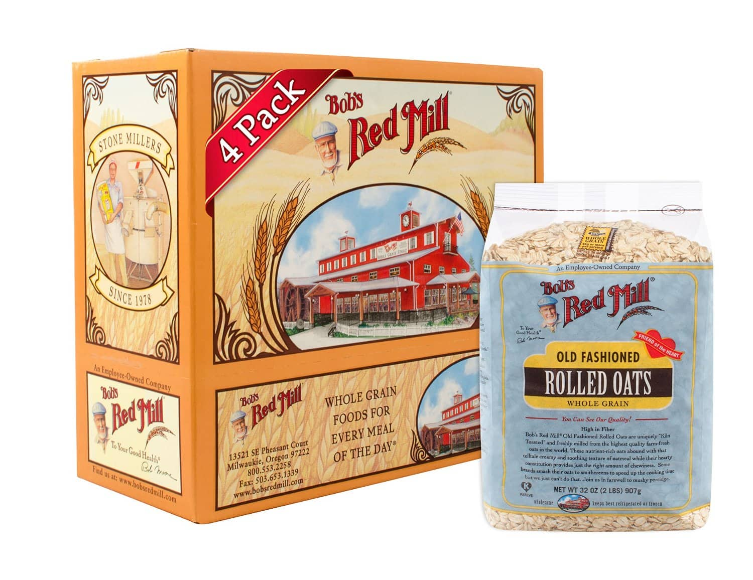 Bob's Red Mill Oats Rolled Regular, 32-Ounce (Pack of 4) - $10.53 w/ S&S + Free Shipping