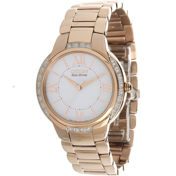 Citizen Ciena Collection EM0093-59A Womens Diamond Accent Eco-Drive Rose Gold Tone Stainless Steel Watch $78 f/s