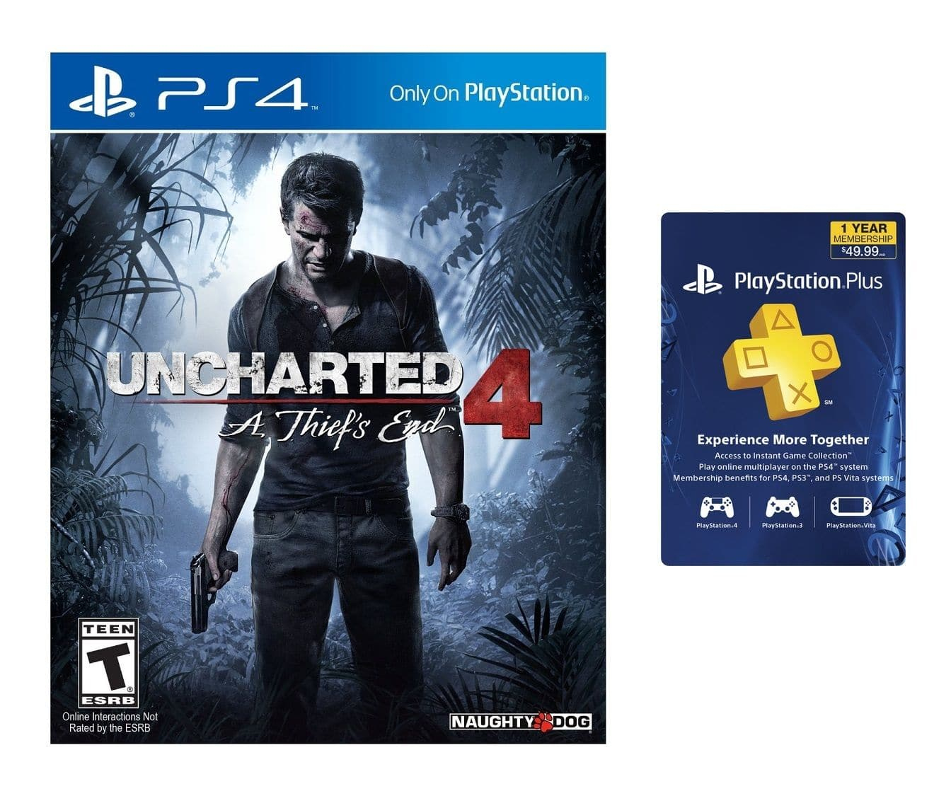 Uncharted 4: A Thief's End (PS4) + PlayStation Plus 12-Month Membership  $79 + Free Shipping