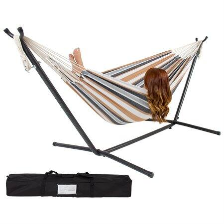 Double Hammock with Space Saving Steel Stand Includes Portable Carrying Case $54.95