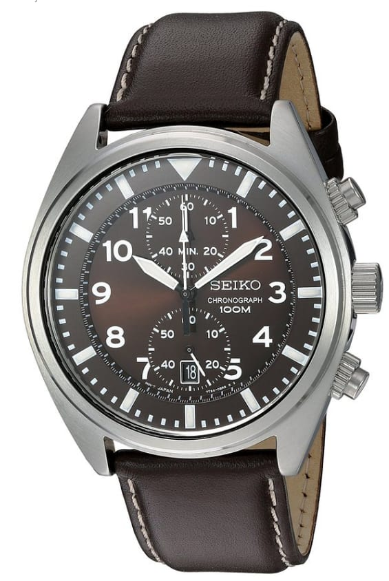 Seiko Men's SNN241 Stainless Steel Watch with Brown Leather Band - $60.99 @ Amazon