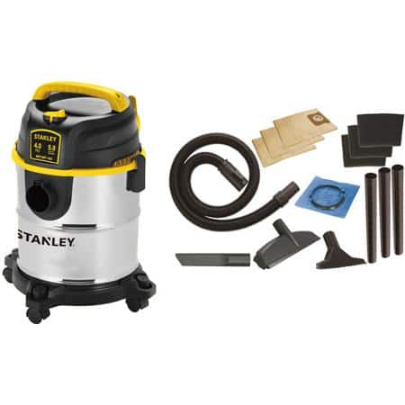 Stanley SL18143A 5-Gallon 4 Peak Portable Stainless Steel Wet/Dry Vacuum Cleaner w/ Accessories $33.05 + Free Store Pickup Walmart.com