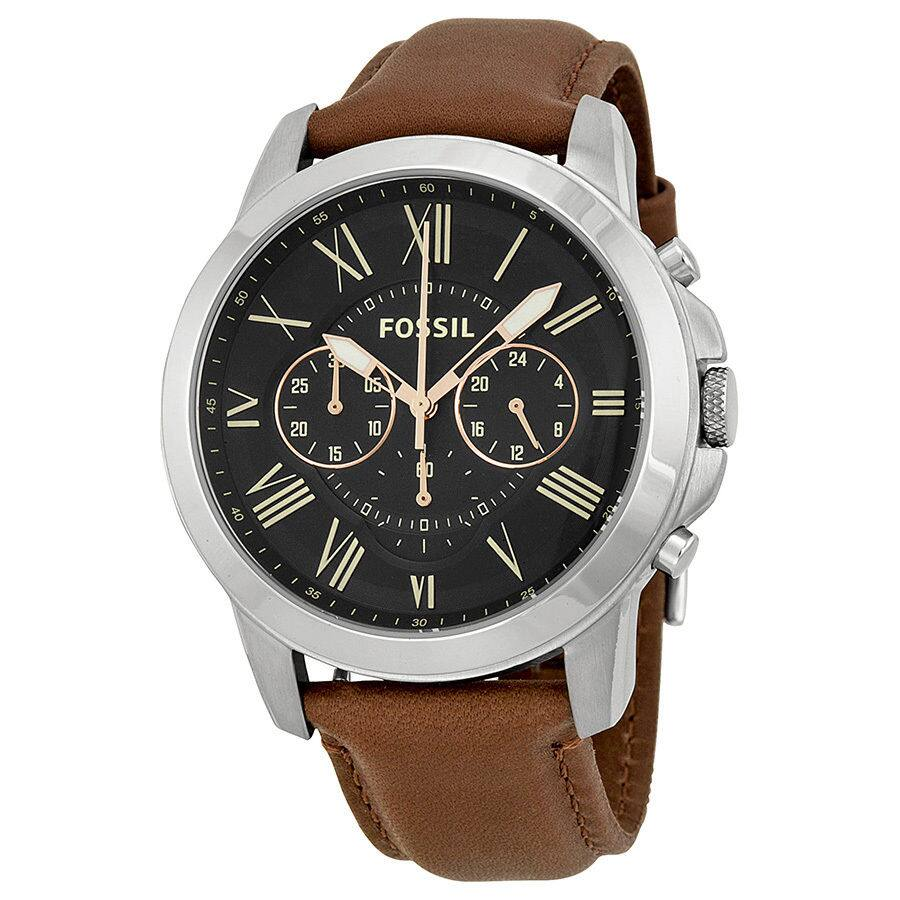 Fossil Grant Chronograph Black Dial Brown Leather Mens Watch FS4813 for $54.99 + Free shipping + No tax!