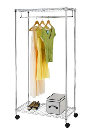 "70"" Chrome Wire Shelving Rolling Garment Rack $29.99 with free shipping"