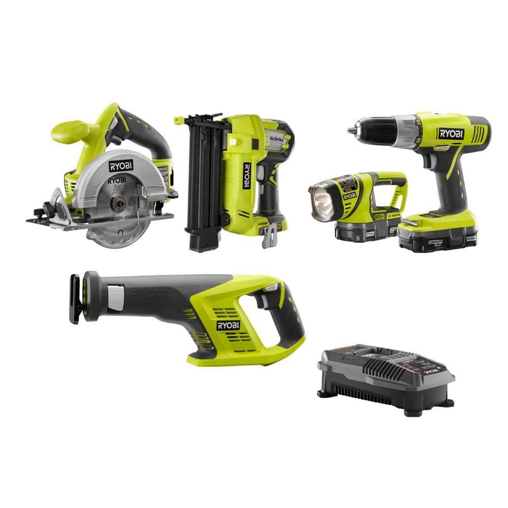 Ryobi ONE+ 18-Volt Lithium-Ion Cordless Combo Kit with Brad Nailer 5-Tool Kit $199 at Home Depot free shipping
