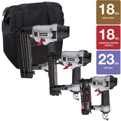 Nailers & Compressors up to 47% off: Freeman Professional Woodworker Kit with Fasteners and Canvas Bag $59.88, Freeman Professional Trim Kit with Fasteners and Tool Belt $89 & more