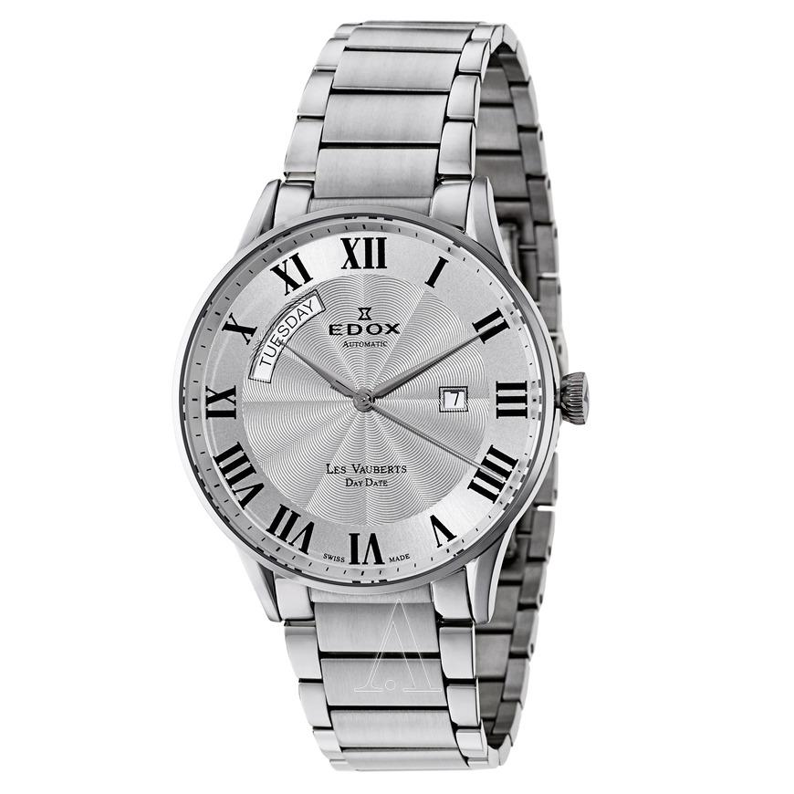 Edox Men's Les Vauberts Day Date Automatic Watch w/ Engraved Sunburst Guilloche Center $379 + FS