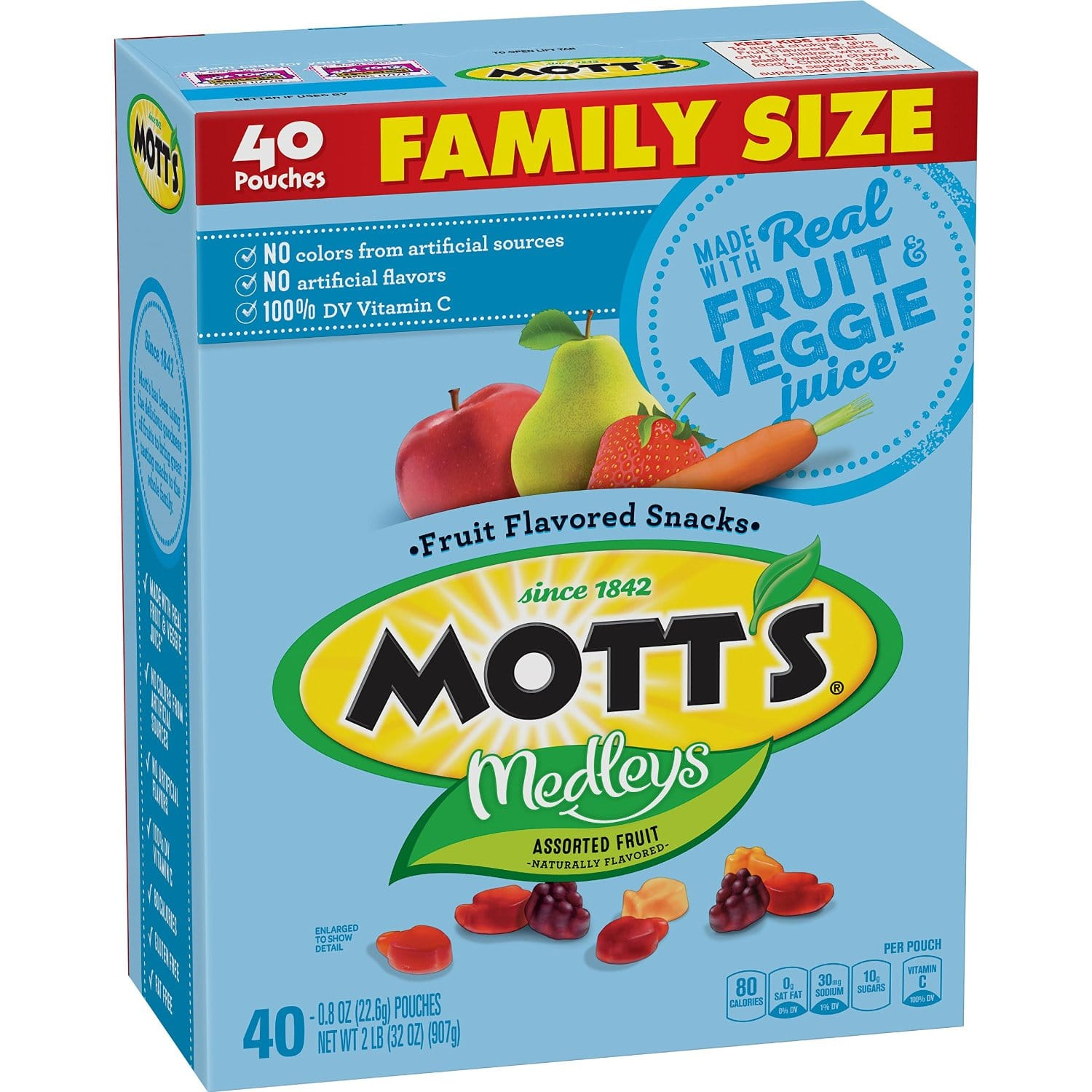 Mott's Medleys Fruit Flavored Snacks, Assorted Fruit, Value Pack, 40 Pouches, 32 oz for $4.91 at amazon