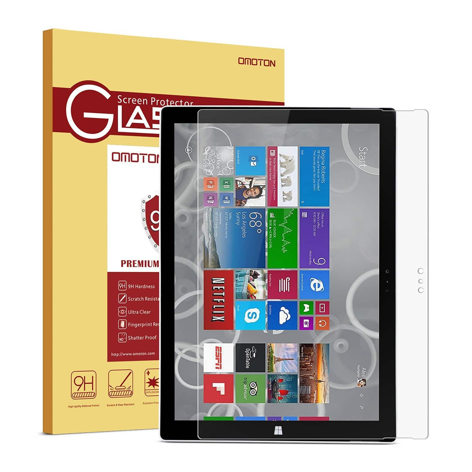 OMOTON 9H Hardness Tempered-Glass Screen Surface Pro 3 Protector $4 AC, OMOTON 2.5D Round Edge 9H Hardness Tempered Glass Apple iPad Pro 12.9-Inch Screen Protector $4 AC + FSSS!