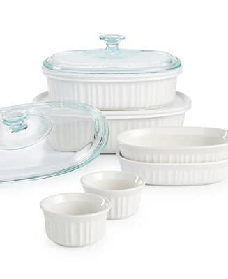 10-Piece Corningware French White Bakeware Set $21.25 + free store pickup at Macys