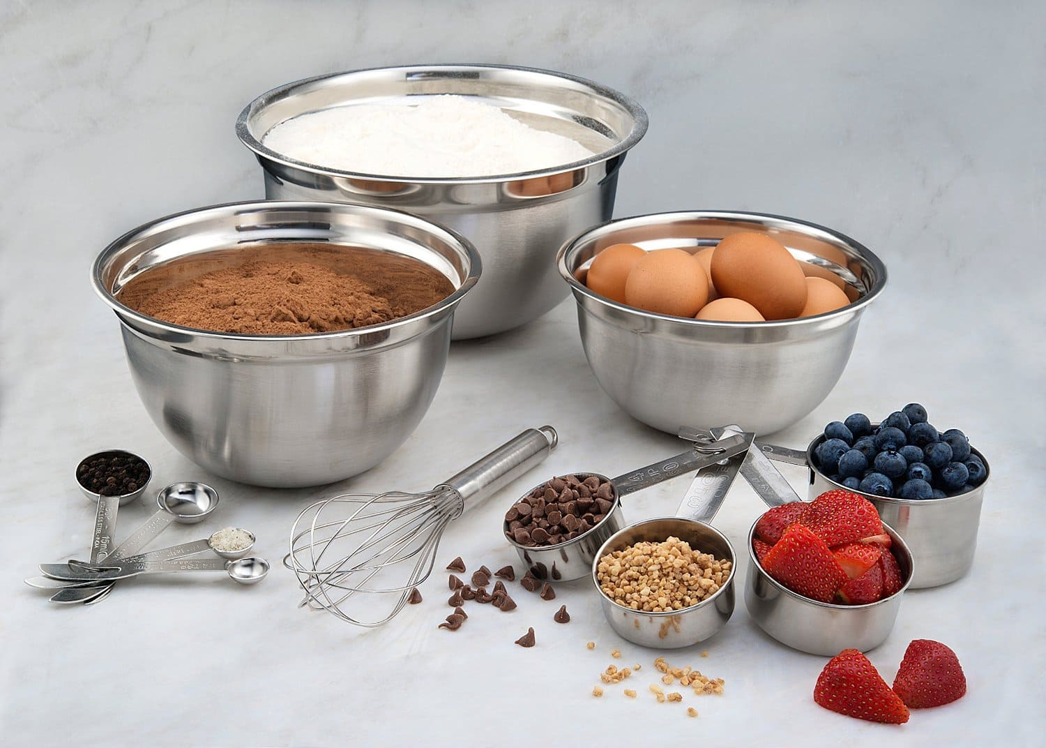 12-Piece Estilo Stainless Steel Set: Mixing Bowls, Measuring Cups, Measuring Spoons, Barrel Whisk all for $11.63 at Amazon