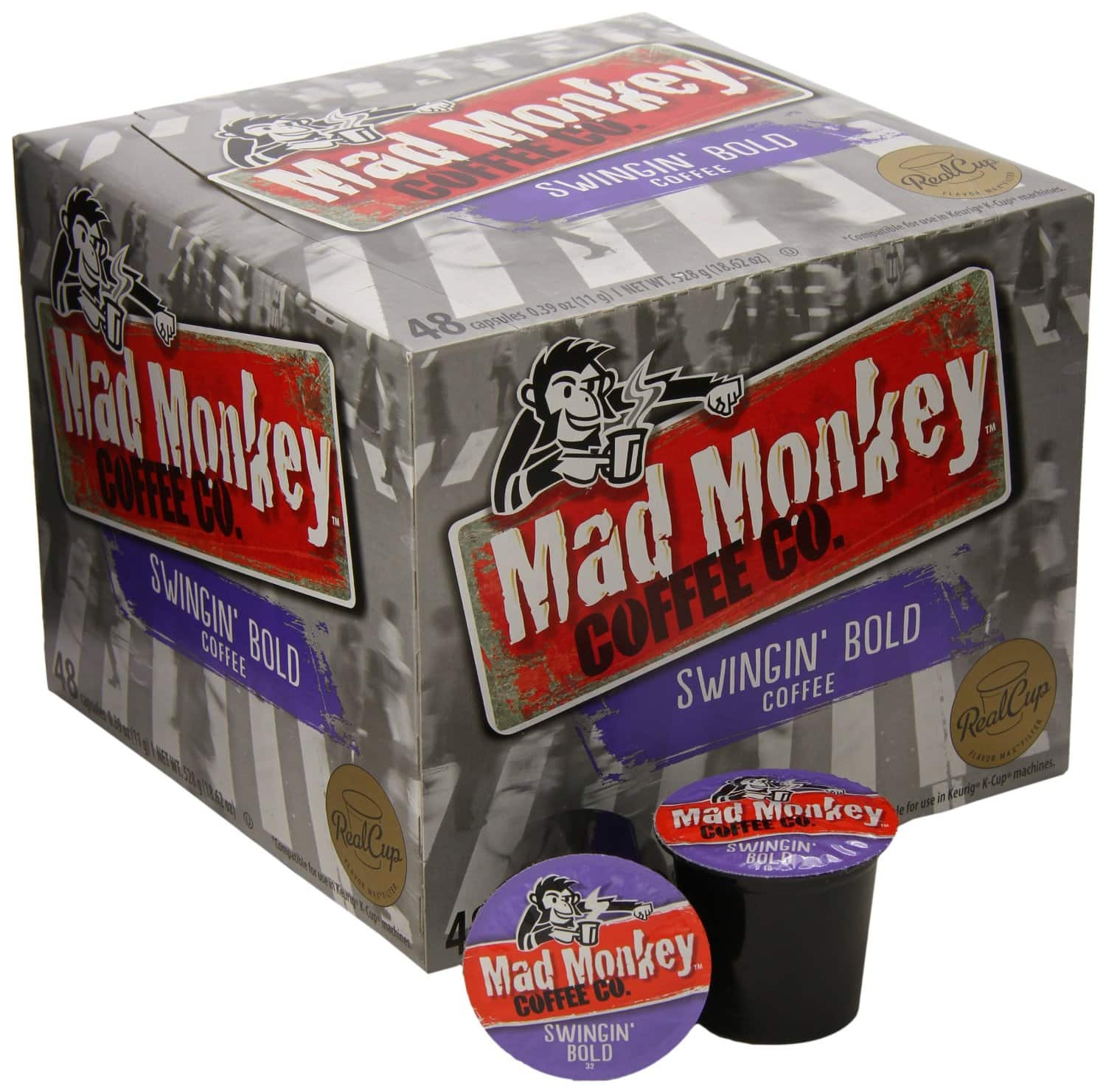 48-Count Mad Monkey Coffee RealCup K-Cups  $15 + Free Shipping