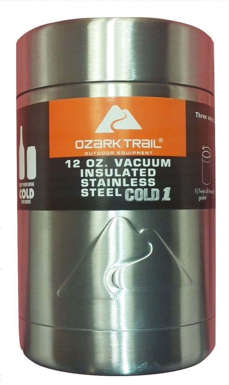 Ozark Trail 12-oz Vacuum Insulated Stainless Steel Can Cooler w/ Metal Gasket $7.74 at Walmart