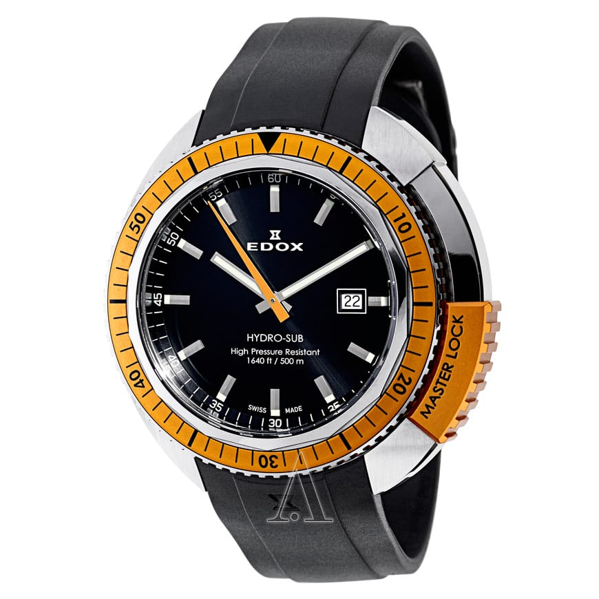EDOX Hydro-Sub Men's Watch w/ Stainless Steel Case & Black Rubber Strap $229 with free shipping