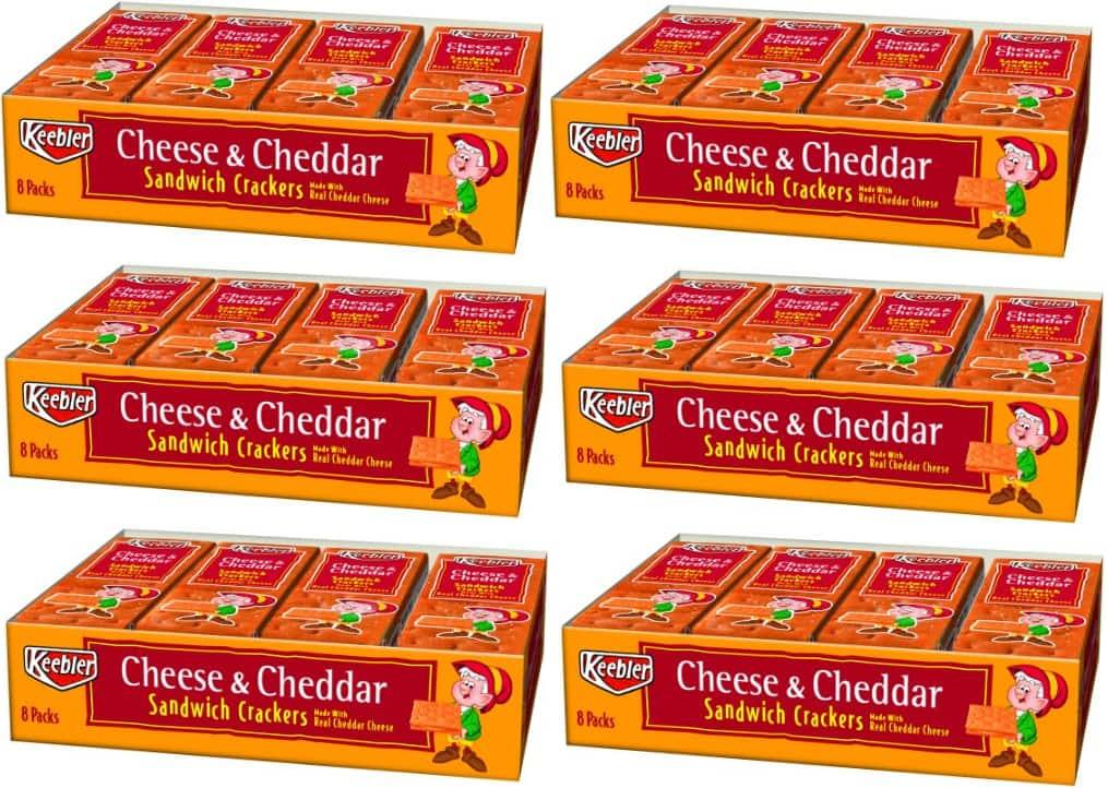 Keebler Cheese/Cheddar Sandwich Crackers, 8-Count, 11-Ounces package (Pack of 6) - $5.39 or Less AC w/S&S