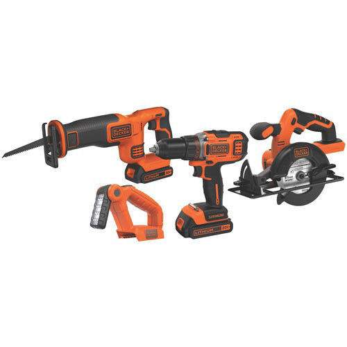 Black & Decker 4-Tool 20V Max Lithium Ion Cordless Combo Kit $89.99 free shipping @ebay