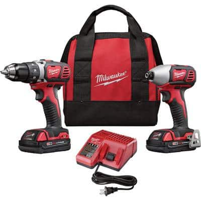 Milwaukee M18 Compact Drill/Driver & Impact Driver Combo Kit w/2 Batteries $154, M12 Combo Kit $119, Free Shipping