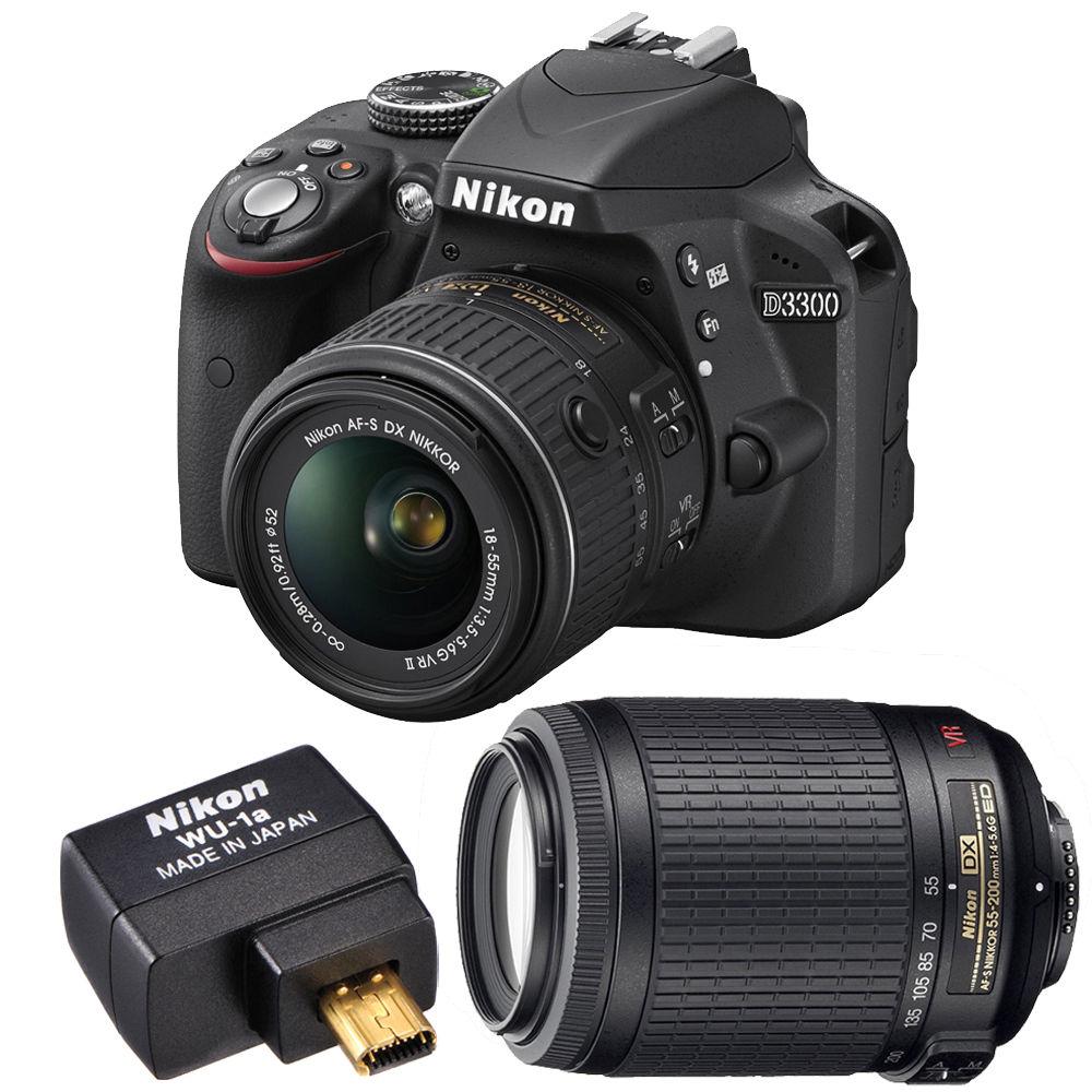 Nikon D3300 24.2MP 1080p Digital SLR Camera w/ 18-55mm VR II Lens + 55-200mm VR Lens + Nikon WU-1a Wifi Adapter (Refurbished) $379+FS eBay Daily Deal
