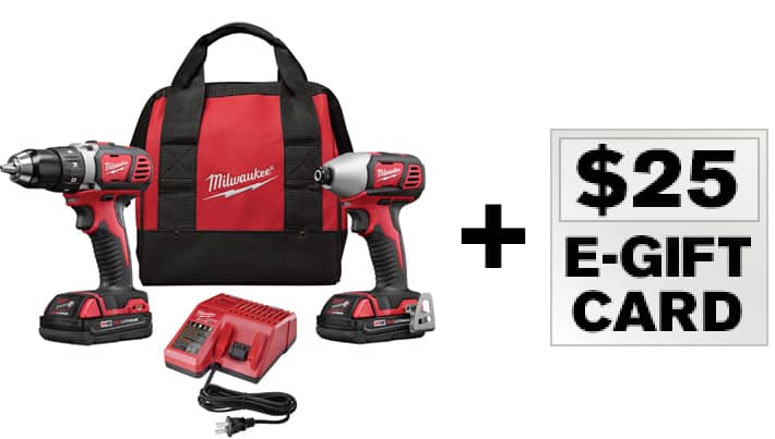 "Milwaukee M18 18V Lith-Ion 1/2"" Drill / Impact Driver Combo Kit $159 with free $25 gift card and free shipping"