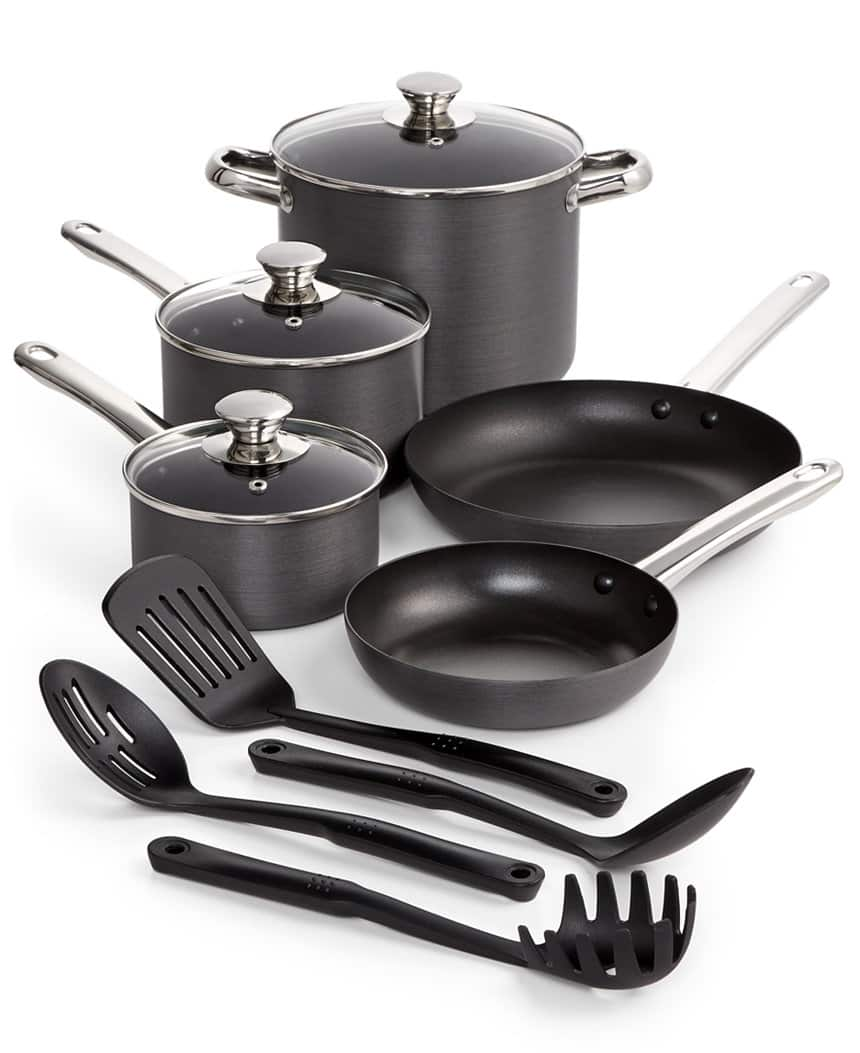 Hard-Anodized 12-Piece Nonstick Cookware Set w/ Stainless Steel Trim $29.99 with free shipping