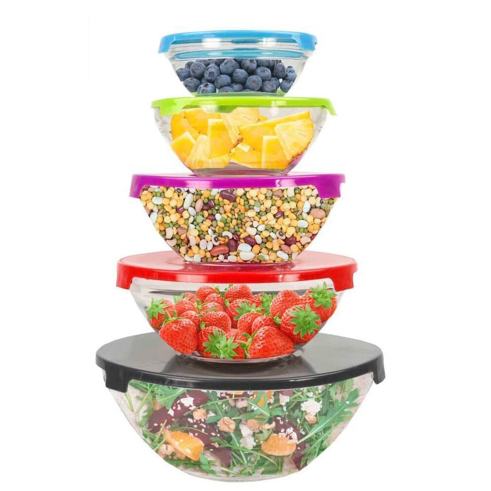 set of 5 glass mixing storage bowls w colorful lids 5 bowls 5 lids for with free. Black Bedroom Furniture Sets. Home Design Ideas