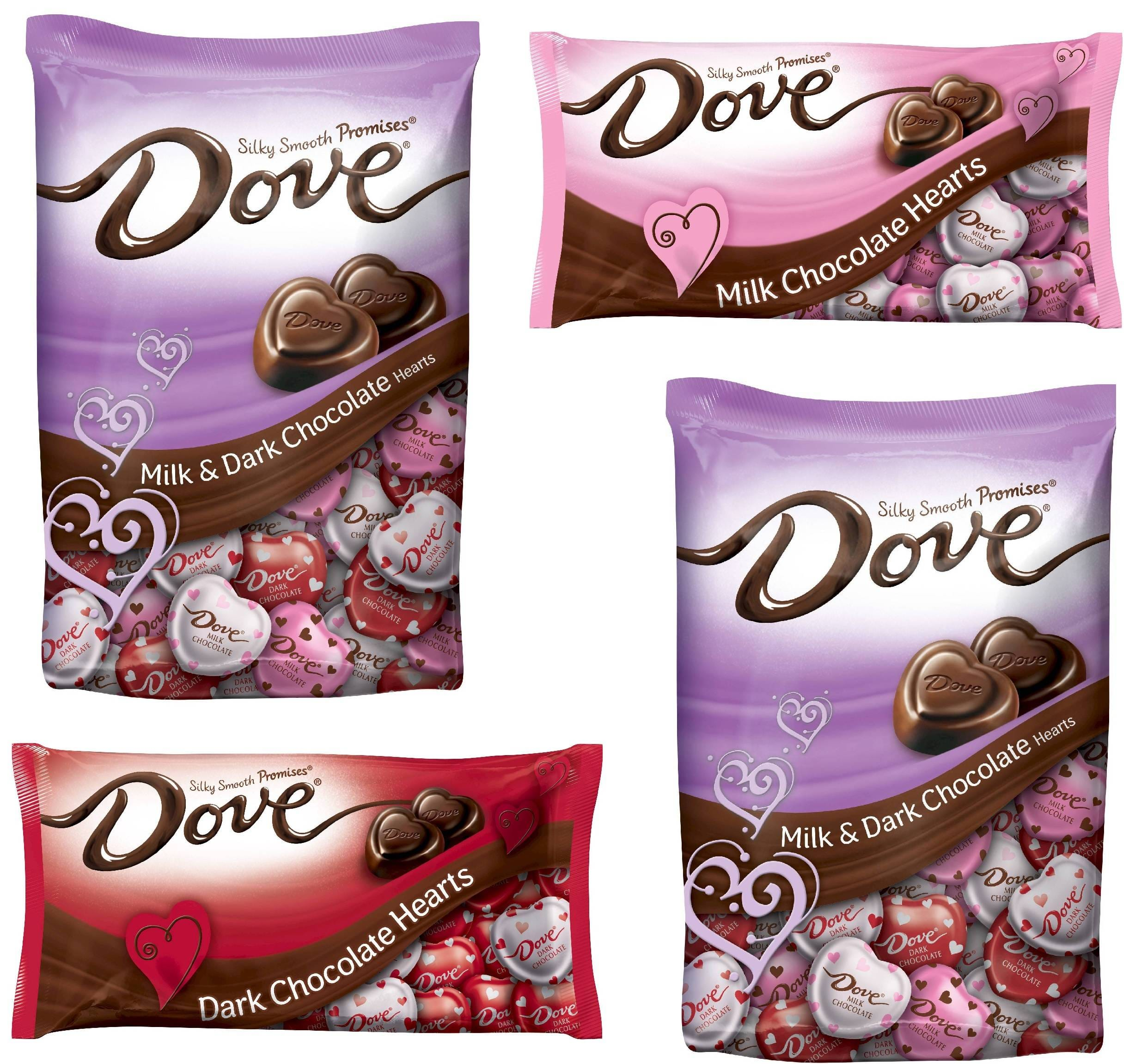 3.5-Lbs of Dove Chocolate: Milk & Dark Chocolate Valentines Hearts ...